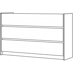 Sous meuble molto 3 tiroirs sol 140cm chene DS103L14