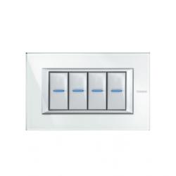 Bticino axo plaq recouv 4 mod blanc HA4804VSW