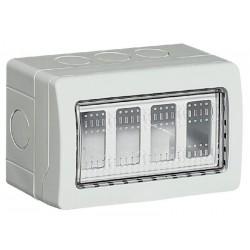 Bticino Boîtier saillie Idrobox IP55 - 4 modules horizontaux - 9 entrées diam. 23mm 25504