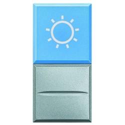 Bticino bouton-poussoir axolute avec voyant - 1p no- bleu - symbole éclairage 230v HC4038LA/230