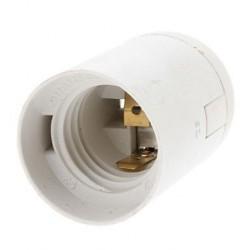 Douille E27 thermoplastique lisse blanc avec serre-fil automatique ELS110S06