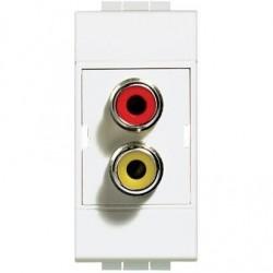 Bticino double connecteur light type rca - rouge/jaune - à souder - 1 module N4269R
