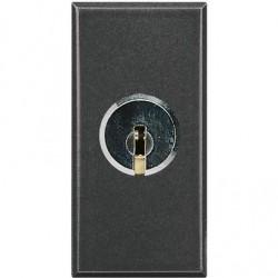 Bticino interrupteur à clé axolute 250v 16a 2p - clé unique - gris foncé - 1 module HS4012