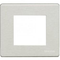 Bticino Plaque de recouvrement Magic - 2 modules - pour support réf. 500S/2AV - alu 500/2A/AL