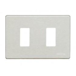 Bticino Plaque de recouvrement Magic - 2 modules - pour support réf. 503R/ 500S/13 - alu 503/2/AL