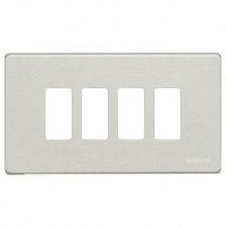 Bticino Plaque de recouvrement Magic - 4 modules - pour support réf. 504S - Aluminium 504/4/AL