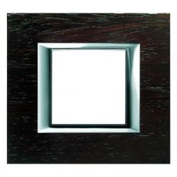 Bticino plaque rectangulaire axolute - bois wengé - 2 modules - 104x95 mm HA4802LWE