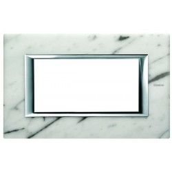 Bticino plaque rectangulaire axolute - marbre de carrara - 4 modules - 150x95 mm HA4804RMC