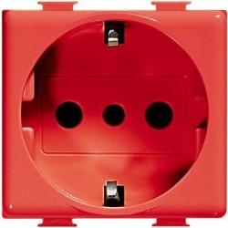 Bticino Prise de courant UNEL avec sécurité Magic 2P+T 250V 10/16A - rouge - 2 modules A5440/3R