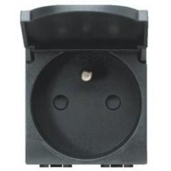 Bticino prise living 2p+t 10/16a 250v - avec clapet - contacts protégés - 2 modules L4145
