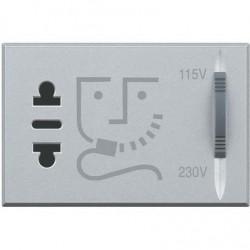 Bticino prise rasoir axolute - 230v - sortie 115/230v 20va - gris clair - 3 modules HC4177