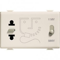Bticino Prise rasoir Magic - transformateur d'isolement 20 VA - 115/230V - 3 modules A5460