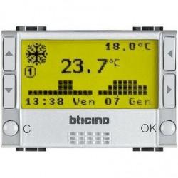 Bticino thermostat d ambiance - alimentation avec batteries - 3 modules light tech NT4451