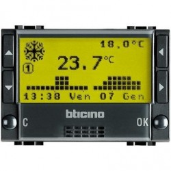 Bticino thermostat d'ambiance living - avec batteries - 3 modules L4451