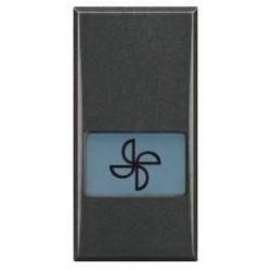 Bticino touche axolute - symbole ventilateur - gris foncé - 1 module HS4921LE