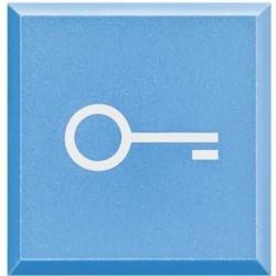 Bticino voyant axolute - symbole blanc clé sur fond bleu - 1/2 module H4920LF
