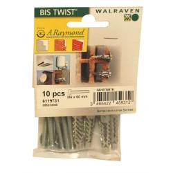 Walraven Bis twist+vis metrique+rondelle m6x60mm boite10pieces 6119731