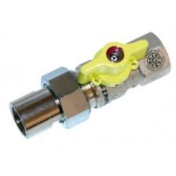 Vanne robinet d'arret avec raccord pour gaz (ARGB) 4/4 female/female RACC 56240