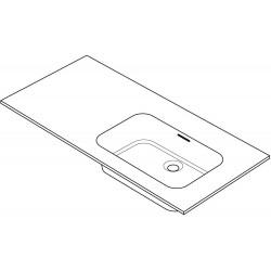 Tablet combo/molto 105x50cm 1 lavabo droite solide blanc R105ROX
