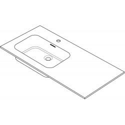 Tablet marbre combo/molto 105x50cm 1 lavabo gauche blanc R105LGC