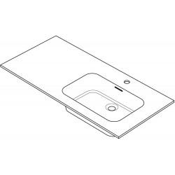 Tablet marbre combo/molto 125x50cm 1 lavabo droite blanc R125RGC