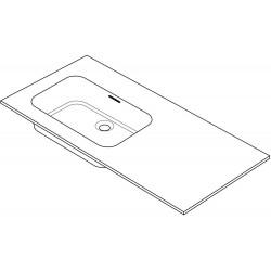 Tablette combo/molto 125x50cm 1 lavabo gauche solide blanc R125LOX
