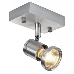 SLV Applique et plafonnier ASTO 1, à une lampe, QPAR51, aluminium brossé, max. 75 W