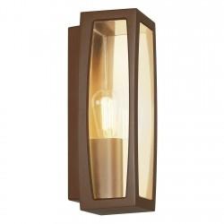 SLV Applique outdoor Meridian Box 2, TC-(D,H,T,Q)SE, couleur rouille, max. 25 W, plastique transparent
