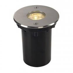 SLV Encastré de sol extérieur DASAR 92 LED HV, 3000 K, IP67, rond, collerette en inox brossé, 230 V, 5,6 W, LED driver incl.