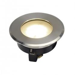 SLV Encastré de sol extérieur DASAR FLAT 80, LED, 3000 K, IP67, rond, inox brossé, 4,3 W