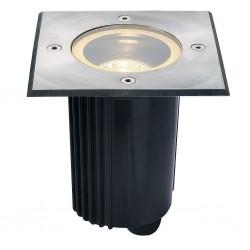 SLV Spot encastré DASAR 80, QR-CBC51, IP67, orientable, carré, inox 316, max. 35 W