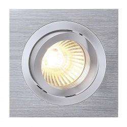 SLV Spot encastré New tria 1, QPAR51, carré, aluminium brossé, max. 50 W, incl. clips ressorts