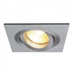 SLV Spot encastré New tria 1, QPAR51, carré, aluminium brossé, max. 50 W, incl. lames ressorts