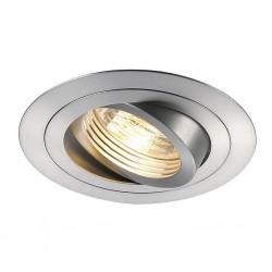 SLV Spot encastré New tria 1, QPAR51, rond, aluminium brossé, max. 50 W, incl. lames ressorts
