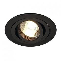 SLV Spot encastré New tria 1, QPAR51, rond, noir, max. 50 W, incl. lames ressorts