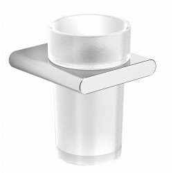 Porte-verre plus gobelet hold s(oft) chrome/verre satin 33011A