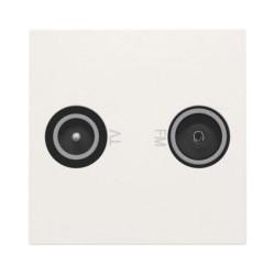 Niko Prise coax 2x simple EDU tv + FM, 45x45mm, blanc  101-69501
