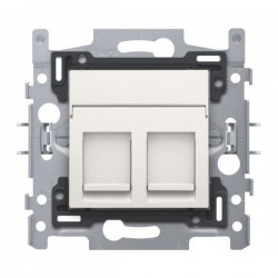 Niko Support avec 2x RJ45 UTP cat.5E plate avec porte-étiquette plein, blanc 101-65152
