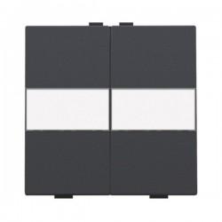 Niko Manette double avec porte-étiquette pour poussoir câble-bus ou RF, anthracite  122-00012