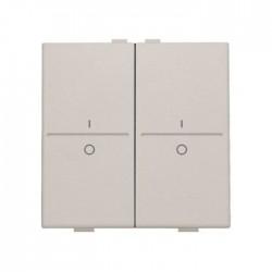 Niko Manette double I-0 pour poussoir câble-bus ou RF émetteur mural, gris clair 102-00008