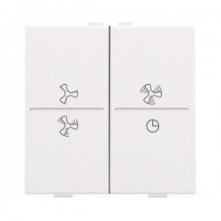 Niko Manette double ventilateur pour poussoir câble-bus ou RF émetteur, acier blanc 154-00013