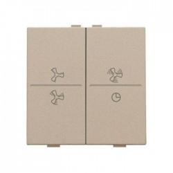 Niko Manette double ventilateur pour poussoir câble-bus ou RF, champagne mat 157-00013