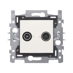 Niko 2 connexions coaxiales mâles simples pour TV et FM, socle et set de finition, blanc 101-69500